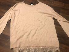 Lane Bryant Tan Sweater Lace Trim Size 18/20 NWOT