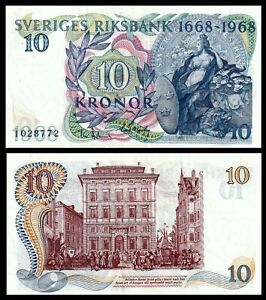 Sweden 10 Kronor P 56a 1968  Commemorative  Bank Note