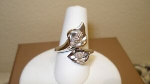 AFFINITY DIAMOND Calla Lily Sterling Silver Ring 1/10 Carat – Size 7