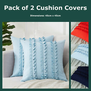 Pack of 2 Faux Suede Pleated Butterfly Inspired Cushion Covers 45x45cm Pillows