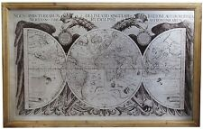 Wooden Frame 17th Century Vintage Antique Ancient World Map Wall Art Picture
