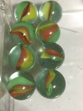 """MARBLES 5/8 """" CATS EYE-Beach Ball MARBLE 8x- Vintage Glass Marbles Lot."""