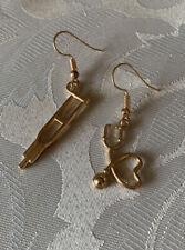 Handmade Fashion Jewelry Charms Gold Dainty Earring Cane Doctor Nurse Gifts