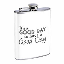 Good Day Em1 Flask 8oz Stainless Steel Hip Drinking Whiskey