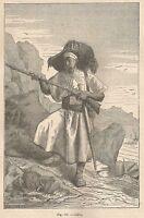 A2421 Cabilo - Xilografia - Stampa Antica del 1895 - Engraving