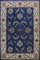 Blue Floral Traditional Oriental Area Rug Hand-Tufted Wool Kitchen Carpet 9x12
