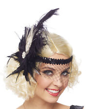 Black Feather Womens Adult 20S Flapper Costume Accessory Headpiece