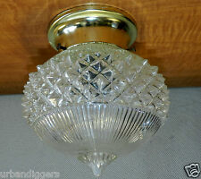 8885/ Vintage ATOMIC Ceiling Light Fixture w/ Glass Globe ~ Mid Century Retro