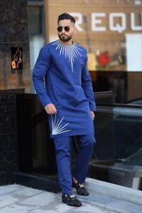 Men's African Clothing Suit Dashiki Shirt With Trouser Top Pants Set 2 Pieces