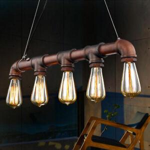 Industrial 5 Lights Vintage Ceiling Lights Metal Pipe Retro Loft Pendant Lamps