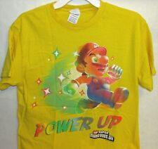 NINTENDO Power Up Super Mario Bros Wii Tee Shirt Yellow Adult Size Medium