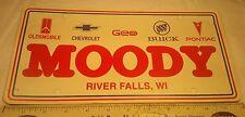 Advertising Dealership Plastic License Plate Olds Pontiac Buick River Falls WI