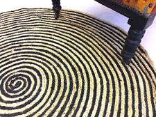 Black & Gold Eco Friendly Round Braided Natural 100% JUTE Reversible Rugs 4'&5'