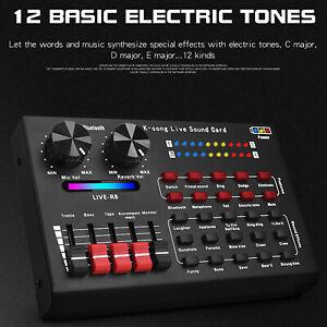 R8 Voice Changer Sound Mixer Board Live Sound Card Multiple Sound Effects h U4D6