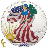 2000 Painted Walking Liberty Silver 1oz American Eagle w/ Box & CoA Uncirculated