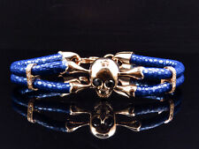 Rose Gold Finish Simulated Lab Diamond Blue Leather Skull Band Bracelet In 8""