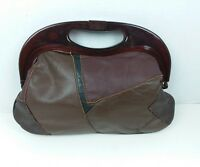 Vintage Leather Patchwork Clutch Purse Bag Lucite Handle Brown Black Burgundy