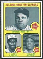 1973 Topps All-Time Home Run Leaders Ruth Aaron Mays Vintage Baseball #1 NM-MINT