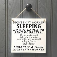 Night Shift Worker DON NOT DISTURB Sign | DO NOT KNOCK DOOR SIGN