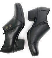 "Clarks Soft Cushion ""Emslie Warren"" Black Block Heel Side Zip Shootie Size 8.5M"