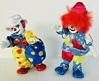 2 Gold Deer & Co Ltd Vintage Clown Dolls Porcelain Head Hands Feet Standing