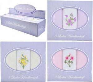 Ladies Cotton Rich Embroidered/Plain Hankies Handkerchiefs Presentation Box 3