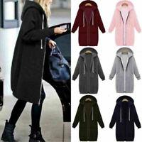 Women Warm Zipper Hoodie Sweater Hooded Long Jacket Coat Sweatshirt Plus Size US