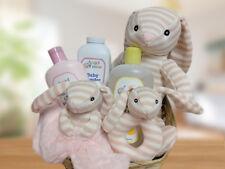 Taljh Pink Baby Girl Sock Monkey Bunny Set and Bath Wash Gift Basket