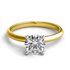 0.75Ct Forever One Moissanite 4 Prong Solitaire Wedding Ring 14K Two Tone Gold