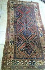 Vintage Hand Knotted Turkish Persian Afghan Rug 100% Wool DISTRESSED! 7' X 3.5'
