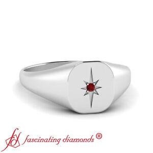 Platinum Vintage Starburst Signet Ring For Men With Pave Set Round Ruby Gemstone