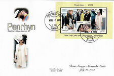 Penrhyn 2013 FDC Royal Baby 3v S/S Cover Prince George William Kate Cambridge