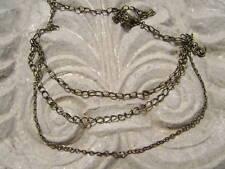 Collar Latón Acero 3 Cuerdas hecho a Mano Único ROLO Flat Cable Retorcido CADENA