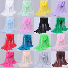 NEW Fashion Women Long Soft Thin Lady Shawl Chiffon Silk Feel Neck Scarf Scarves