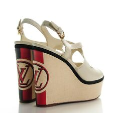 7c16baff2596 Louis Vuitton Calfskin Leather Off White Postcard Wedges Sandals MA1114 Size  8.5