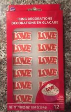 Wilton Love, Edible Cupcake Toppers, Icing Decoration, Wedding, Valentines