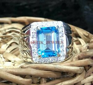Natural Blue Topaz Gemstone with 925 Sterling Silver Ring for Men's #3483