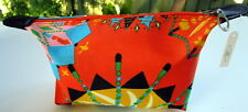 SMALL ORANGE MULTI COSMETIC BEAUTY MAKE UP TOILETRY TRAVEL ZIP POUCH BAG PURSE