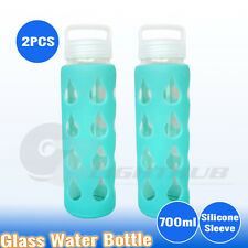 2PCS 700ml Sport GLASS Water Hydration Bottle Outdoor Camping Hiking BPA FREE