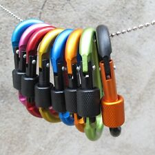 D Ring Shape Carabiner Spring Snap Key Chain Clip Hook Lock Outdoor Buckle Red