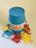 Vintage 1998 HASBRO International Blue BARRELL of MONKEYS Game by Milton Bradley