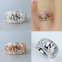 Rose Gold 925 Silver Filled Nana Zircon Rhinestone Rings Grandma Ring Jewelry T