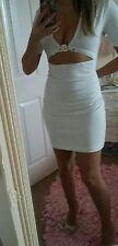 Bnwot sexy white size 8/10 mini short dress Plunge revealing party club