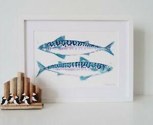 Mackerel Painting, original watercolour (43 cm x 33 cm), Father's day gift