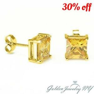 14K Solid Yellow Gold Princess Square Canary yellow CZ Stud Earrings Basket .