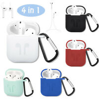 Silicone Cover Skin Case+Carabiner+Earbud Strap+Ear Hooks cover fr Apple AirPods