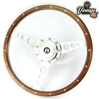 "Vw Beetle T1 Kafer 68>73 14"" Light Wood Rim Steering Wheel Alloy Boss Kit & Horn"
