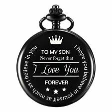 Black Coloured Pocket Watch Engraved for Son - Mens Boys Sons Jewellery