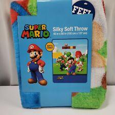"Super Mario Nintendo 40"" x 50''  Silky Soft Throw Blanket NWT Yoshi Luigi"