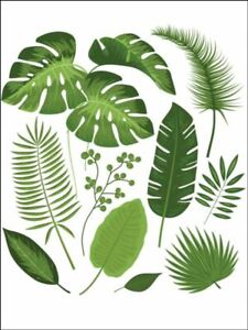leaves tropical leaves green leaf Edible Printed Cake Topper Kit Wafer or Icing